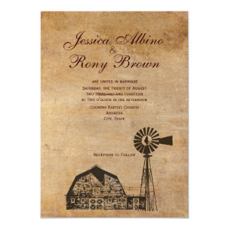 Rustic Country Vintage Canvas Barn Windmill Card