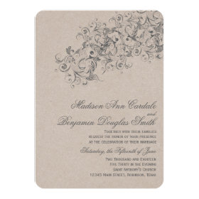 Rustic Country Vintage Flourish Wedding Invites