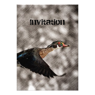 Rustic country Vintage Flying Duck Invitations