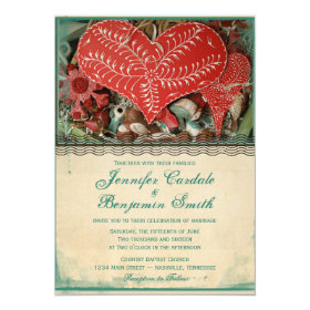 Rustic Country Vintage Heart Wedding Invitations