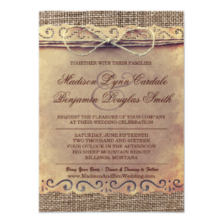 Rustic Country Vintage Paper Burlap Wedding Invite Personalized Invitation