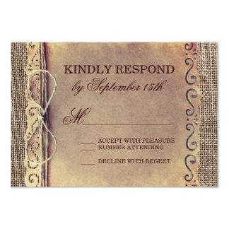Rustic Country Vintage Paper Burlap Wedding RSVP 3.5x5 Paper Invitation Card