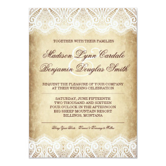 Rustic Country Vintage Paper Lace Wedding Invites