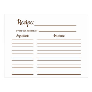 Rustic Country Vintage Recipe Card Shower Insert