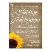 Rustic Country Vintage Sunflower Wedding Invites (<em>$2.17</em>)