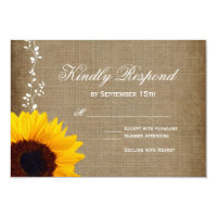 Rustic Country Vintage Sunflower Wedding RSVP Card