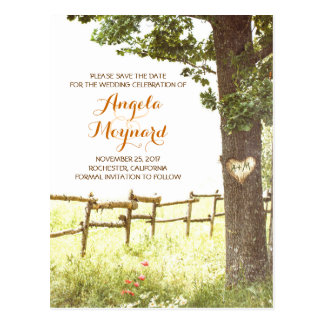 rustic country vintage tree save the date postcard