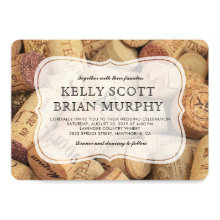 Rustic Country Vintage Winery Cork Wine Wedding Invitations