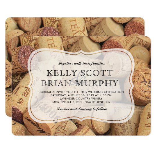 The Vintage Wedding At Cork Factory: Rustic Country Vintage Winery Cork Wine Wedding Invitation