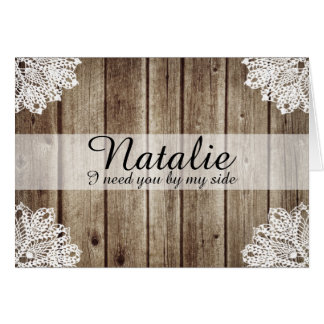Rustic Country Vintage Wood Bridesmaid Request Card