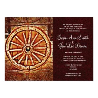 Rustic Country Wagon Wheel Wedding Invitations