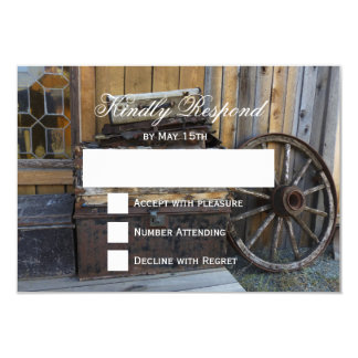 Rustic Country Wagon Wheel Wedding RSVP Cards
