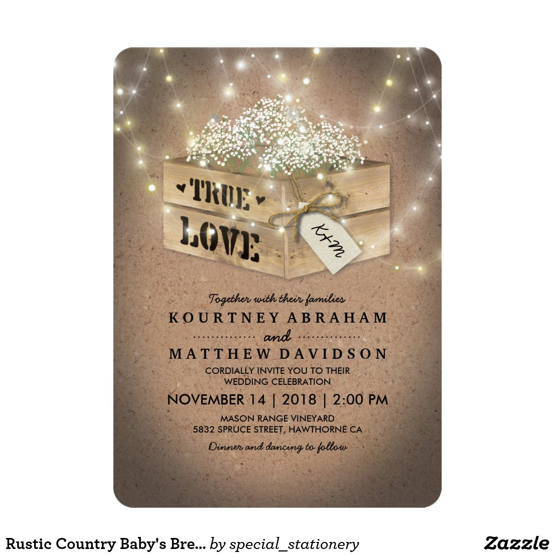Country Baby's Breath Wedding Invitation