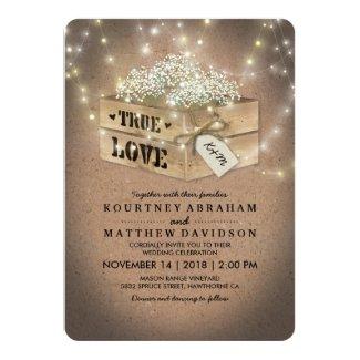 Country Baby's Breath Wedding Invitation