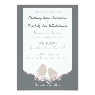 Rustic Country Wedding Cuddling Birds Invite