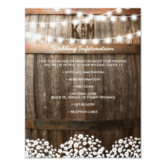 RUSTIC COUNTRY WEDDING DETAILS   STRING OF LIGHTS CARD