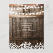 Rustic Country Wedding Details | String of Lights Enclosure Card