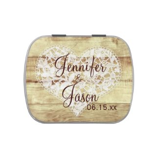 Rustic Country Wedding Favor Mint Personalized Tin