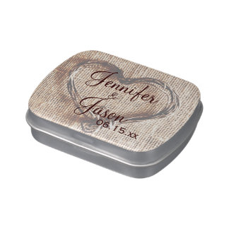 Rustic Country Wedding Favor Mint Personalized Tin Jelly Belly Candy Tins