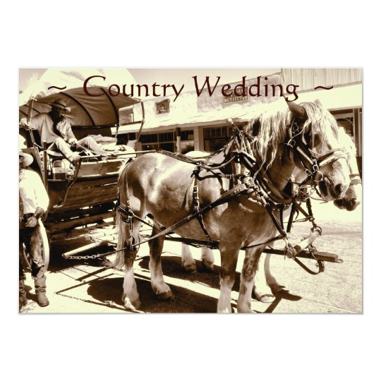 Rustic Country Wedding Invitations Horses Wagon