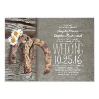 Rustic country wedding invitations - Horseshoes