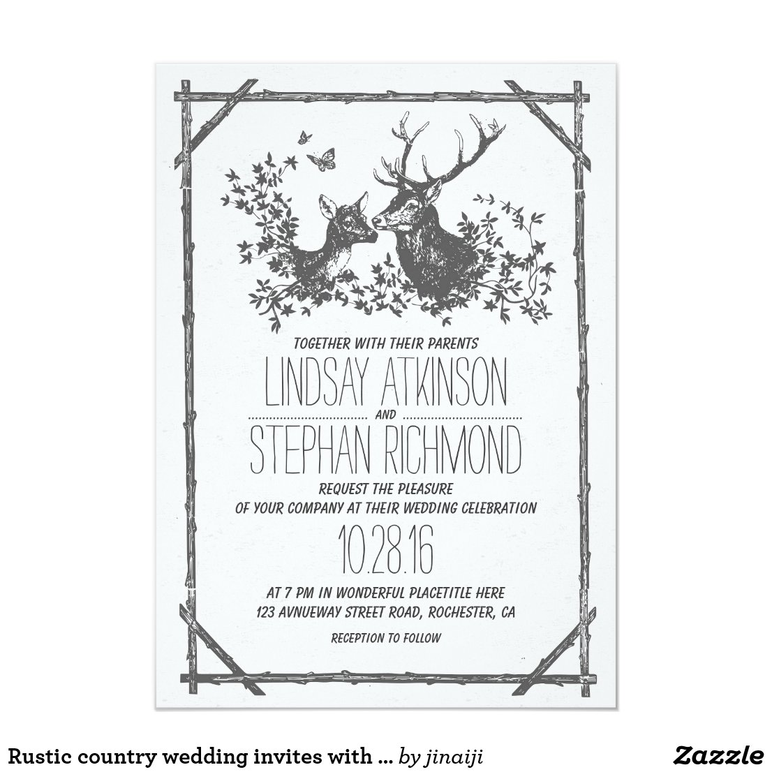 Country Deer Wedding Invitations
