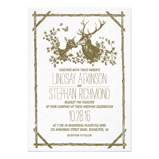 Rustic country wedding invites with deer personalized invitations