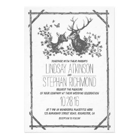 Rustic country wedding invites with deer invites
