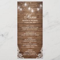 Rustic Country Wedding Menu | String Lights Wood