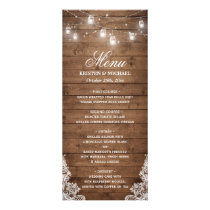 Rustic Country Wedding Menu | String Lights Wood
