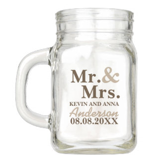 Rustic country Wedding Mr and Mrs Mason Jar