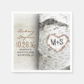 Rustic country wedding napkins with birch tree
