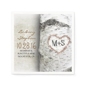 Rustic country wedding napkins with birch tree standard cocktail napkin