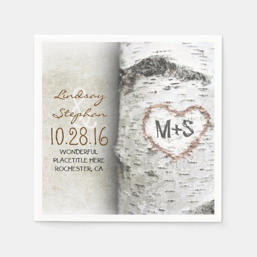 Rustic Wedding Napkins: Rustic Country Wedding Napkins With Birch Tree Disposable