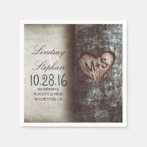 Rustic country wedding napkins with tree heart