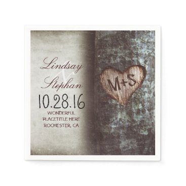 Valentines Themed Rustic country wedding napkins with tree heart