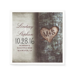 Rustic country wedding napkins with tree heart standard cocktail napkin