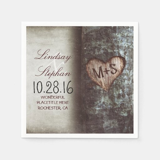 Rustic Wedding Napkins: Rustic Country Wedding Napkins With Tree Heart Paper