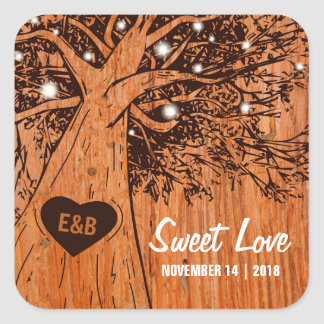 RUSTIC COUNTRY WEDDING | OAK TREE SQUARE STICKER