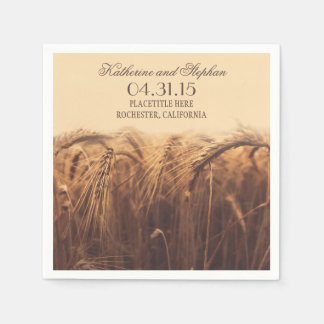 rustic country wedding paper napkins - brown wheat