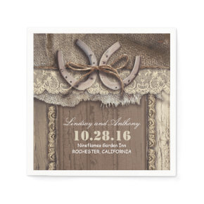 rustic country wedding paper napkins - horseshoes