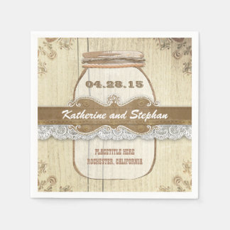 rustic country wedding paper napkins - mason jar