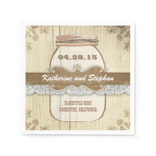 Rustic Wedding Napkins: Rustic Country Wedding Paper Napkins - Mason Jar