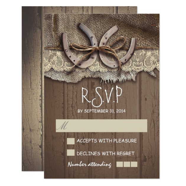 Rustic country wedding RSVP cards | Zazzle