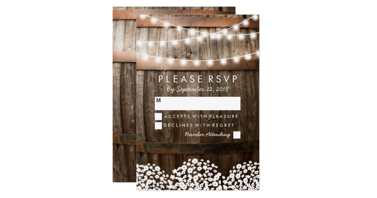 Zazzle String Lights : RUSTIC COUNTRY WEDDING RSVP STRING OF LIGHTS CARD Zazzle