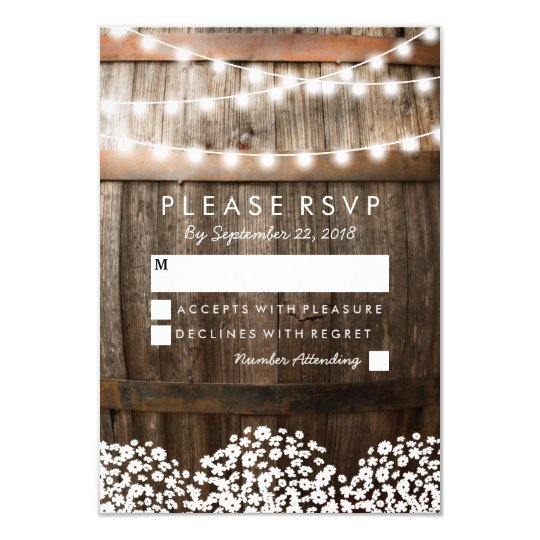 RUSTIC COUNTRY WEDDING RSVP STRING OF LIGHTS CARD Zazzle