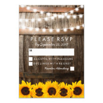 Rustic Country Wedding RSVP | Sunflower Lights Card