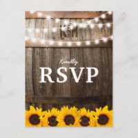 Rustic Country Wedding RSVP | Sunflower Lights Invitation Postcard