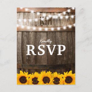 Rustic Country Wedding RSVP | Sunflower Lights Invitation Postcard
