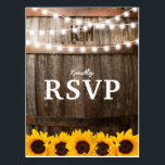 "Rustic Country Wedding RSVP | Sunflower Lights Postcard<br><div class=""desc"">SUNFLOWER VINEYARD WEDDING RSVP POSTCARDS 
